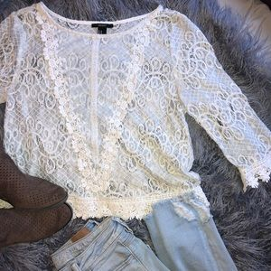 Lace embroidered long sleeve blouse
